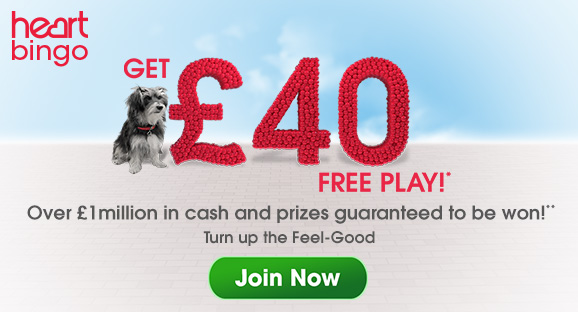 Bingo Welcome Bonus heartbingo.co.uk Extra 10 deposit bonus